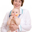 Doctor with a baby on a white background. — Stock Photo