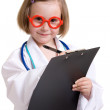 Little doctor with a white background. — Stock Photo