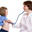 Doctor and child on a white background. — Stock Photo