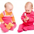 Two baby on a white background. — Stock Photo