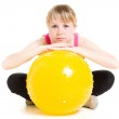 Teenager with a ball on a white background. — Stock Photo