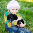 The girl with the puppy in her arms. — Stock Photo