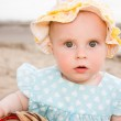 Baby crawling on the beach. — Stock Photo