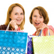 Girls with shopping on white background. - Stock Photo