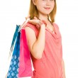 Girl with shopping on white background. — Stock Photo #6204445