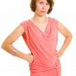 Woman in red dress on white background. — Stock Photo