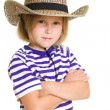 Girl cowboy on a white background. — Stock Photo
