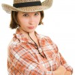 Stock Photo: Cowboy woman on a white background.