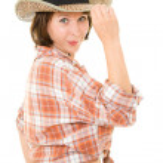 Cowboy woman on a white background. — Stock Photo