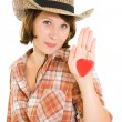Cowboy woman on a white background. — Stock Photo