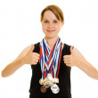 Royalty-Free Stock Photo: Girl champion on a white background