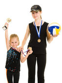 Girl champion on a white background — Stock Photo