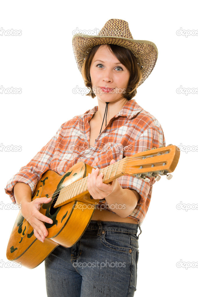 Cowboy woman on a white background. — Stock Photo #6306427