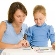 Mom and daughter paint colors. — Stock Photo #6513214