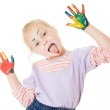 Cute girl playing with colors — Stock Photo