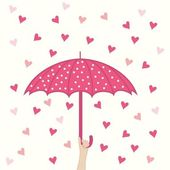 Seamless pattern with umbrella and hearts rain — Stock Vector