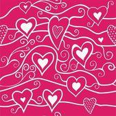 Liefde naadloze patroon met hart en bloemen — Stockvector