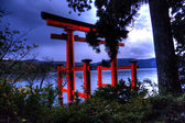 Night torii in water — Stock Photo