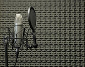 Microphone in Acoustic Booth — Stock Photo