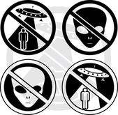 Set of danger UFO signs — Stock Vector
