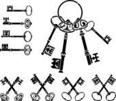 Set of medieval keys — Stock Vector