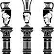 Hellenic jugs with columns — Stock Vector