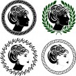 Set of roman woman profiles - Stock Vector