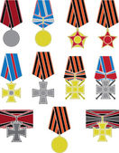Set of crosses and medals — Stock Vector