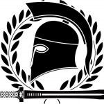 Fantasy hellenic sword and helmet — Stock Vector
