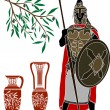 Ancient hellenic warrior and jugs — Stock Vector