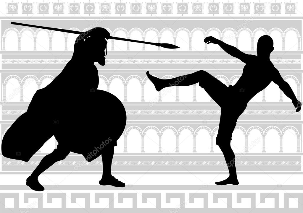 Silhouettes of gladiators. vector illustration — Stock Vector #6311497