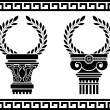 Greek columns with wreaths — Stock Vector
