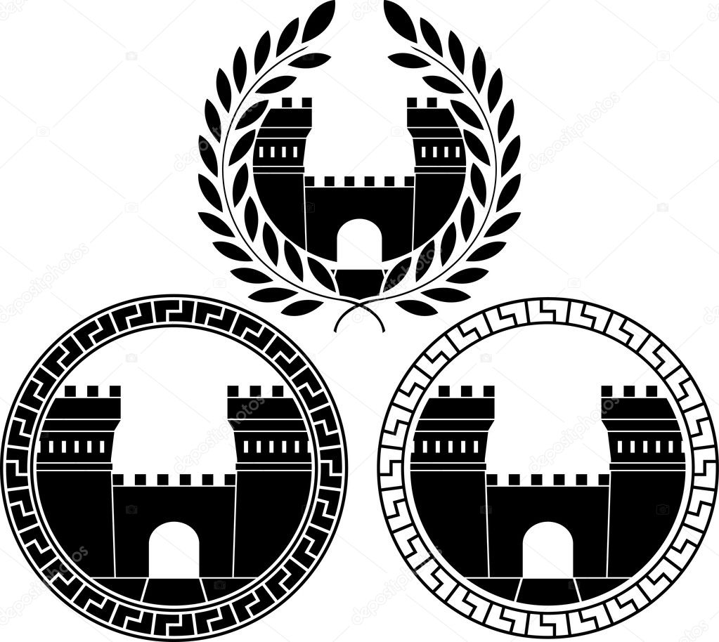 Set of castle gates. vector illustration  Stock Vector #6548601