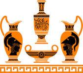 Set of hellenic vases. stencils — Stock Vector