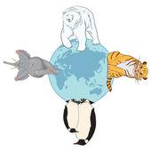 Djur och globe — Stockvektor