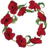 Wreath of poppies — Stock Vector