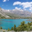 Panorama mountain lake in background with high mountain — Stock Photo