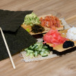 Stock Photo: Stages of cooking sushi