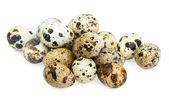 Quail eggs isolated on white the background — Stock Photo