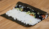 Stages of cooking sushi — Stockfoto