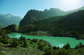 Mountain lake in background with high mountain — Stok fotoğraf