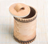 The wooden casket in the form of barrel — Stock Photo