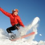 Woman on snowboard — Stock Photo #5539683