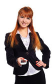Businesswoman with mobile phone — Stock Photo