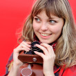 Stock Photo: Young teenager girl with old film camera