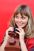 Young teenager girl with old film camera — Stock Photo