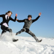 Two teenagers jumping — Stock Photo #6130790