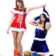 Stock Photo: Playful girls in christmas clothing