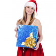 Young woman in red christmas clothing — Stock Photo