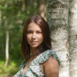 The girl at a birch — Stock fotografie